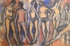 Jean BESNARD 1922-2007.Les Baigneurs.Gouache/papier. 1950.Cachet au dos.