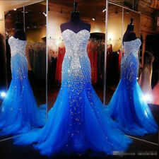 Sparkly Crystals Beaded Royal Blue Mermaid Prom Evening Party Dress Formal Gown
