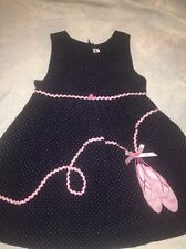 Girls Rare Editions Dress Jumper Size 4 Navy Pink Ballet Slippers Princess