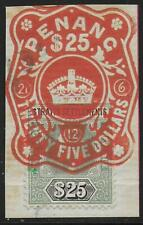 Malaya/Straits stamps 1904 SG 139 Fiscal used on fragment PENANG 25$