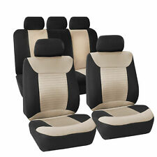 Seat Covers Premium Fabrics Universal Fitment Beige Black For Auto Car SUV Van