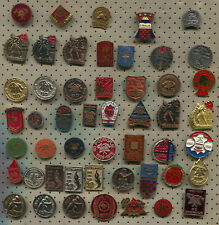 VINTAGE OLD FIREMAN FIREFIGHTERS EX YUGOSLAVIA PIN BADGE LOT 50 PIECES!!!