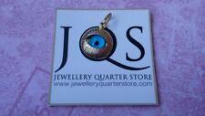 Modern 9ct Yellow Gold 12mm Evil Eye Sunburst Design Charm Pendant - Gift Boxed
