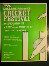 CALLERS PEGASUS An England XI  V Rest Of The World XI Scorecard Cricket 1986