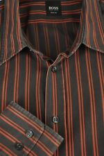 Hugo Boss Men's Java & Orange Striped Slim Fit Cotton Casual Shirt XL XLarge