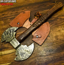 SFK CUTLERY CUSTOM DAMASCUS TOMAHAWK KNIFE ,HATCHET,DOUBLE HEAD AXE,INTEGRAL