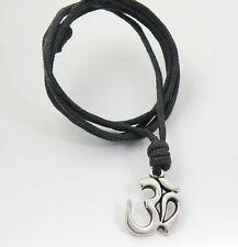 a Black Cord Surfer / Chok 00006000 er / Necklace Spiritual Symbol / Zen / Mantra / Om on