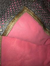 Pink Shimmer Gray Gold Beaded Sari Indian Saree Bollywood Fabric Panel Drape