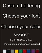 "Custom Text/Name/Logo Vinyl car Window/Laptop Decal Sticker 2x8"" Choose Color"