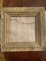 "FAB 4.5"" Wide Wood Carved LARGE Frame Gilded Antique Painting Square 19 x 19 EUC"