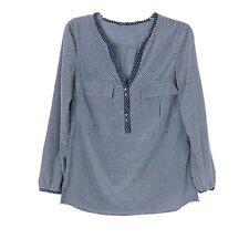 88cacfea53 Zara Basic Womens Navy Blue   White Polka Dot Top Size XS V-Neck Long