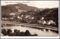 Pötzscha Sachsen alte Postkarte 1923 Gesamtansicht mit Rauenstein ungelaufen
