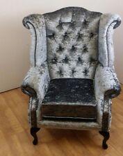 Steel Grey Crushed Velvet Queen Anne Wing Chair