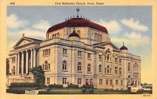 PARIS, TX  Texas     FIRST METHODIST CHURCH     c1940's Curteich Linen Postcard