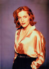 1993's THE X-FILES Gillian Anderson gold satin blouse 7x10 portrait