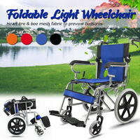 16'' Lightweight Solid Folding Wheelchair Transport Mobility Armrest Foldable