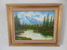 Original Framed Painting, Lake & Mountain Scene, Signed by J. Adams