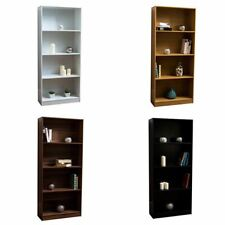 Cambridge 4 Tier Large Bookcase Display Shelving Storage Wood Shelves Unit Stand