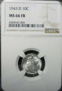 1943-D  Mercury Dime NGC MS-66 FB