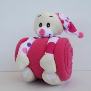 Micro Terry Baby Blanket with Pink Spotty Bear Plush Toy
