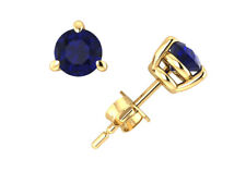 1.25Ct Round Blue Sapphire Basket Stud Earrings 14Karat Yellow Gold 3Prong AAA