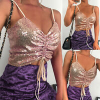 Womens Sleeveless Top Vest Sparkly Sequin Spaghetti Strap Party Club Sexy Shirt