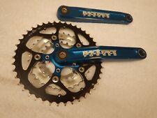 Race Face Forged Vintage Mountain Bike Triple Cranks 175 Crankset Blue Anodized