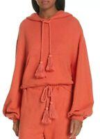 Ulla Johnson Mel Hoodie M L Orange Cotton Cropped Pullover Sweater Long Sleeve