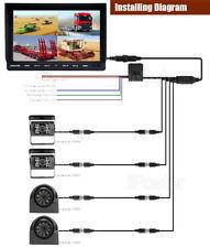 "9"" Quad Monitor 2x Side+2xReversing CCD Camera 12/24V 4PIN KIT Truck Caravan Bus"