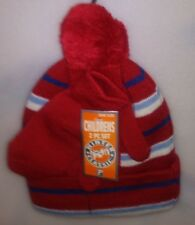 PARIS KIDS 2 PC SET 1 HAT 1 PR MITTENS 1 SZ BALL TOP RED W/ STRIPES A-21