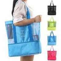 Mesh Beach Tote Bag Zipper Top Insulated Picnic Cooler Handbag Shoulder Bag Box