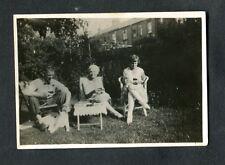 C1930s Original Photo of 2 Ladies & Man with Dog Sitting in a Garden