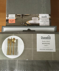 Dunelm Lustre Check Tablecloth Grey 132x178cm With Set Of 4 40x40 Napkins - NEW