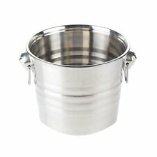 Drinks Cooler Bucket 6 Litre Stainless Steel - Ring Handles, Chilled Beer, Wine