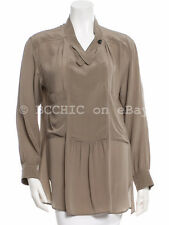 ISABEL MARANT ETOILE 'silk long sleeve blouse' top taupe brown mock collar 1