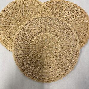 Lot 3 Woven bamboo wicker flat wall baskets Round Tray BOHO decor 9 Inch