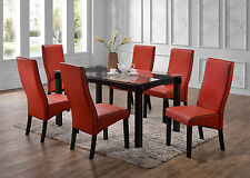 Kings Brand Furniture Dining Room Kitchen Set (Table & 6 Chairs, Red) ~New~