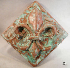 Copper Fleur D; Lis Decorative Dot With Green Patina By Metal Tile Arts Mfg.