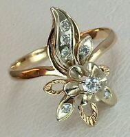 Vintage Original Rose & White Gold 585 14K Ring With Cubic Zirconia, Gold 585