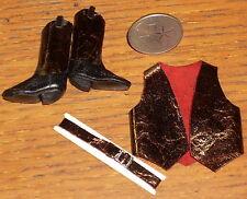 Dollhouse Miniature Prestige Cowgirl Burgundy Leather Boots Vest 1:12 #C17-BBV