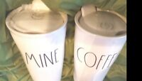 "❤️Rae Dunn Large Letter ""MINE"" & ""COFFEE"" Travel Tumblers Mugs Set of 2 New w/"
