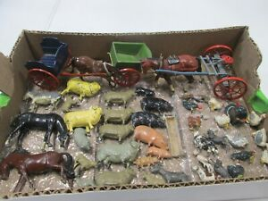 Britains Farm Animals with Horse Drawn Carts Lot