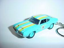 NEW 3D BLUE 1970 OLDSMOBILE CUTLASS 442 CUSTOM KEYCHAIN keyring key 70' BLING!!!