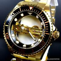 Invicta Pro Diver Ghost Bridge Gold Plated Mechanical Skeleton Black Watch New