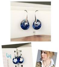 Swarovski drop in Ocean-cut deep Blue Crystal Galet Pierced Earring