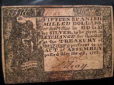 1778 $15 Virginia Colonial Currency