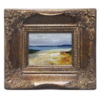 Framed miniature oil painting art of beach sand dune blue ocean in ornate frame