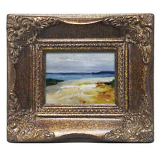 Framed miniature oil painting art of beach sand dune blue ocean in ornate frame