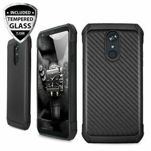For LG Stylo 5/Plus/5X/5V Phone Case Cover TPU Armor Carbon Fiber+Tempered Glass