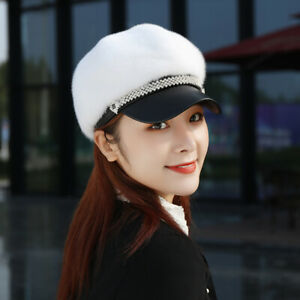 Women's Real Mink Fur Hat Peaked Headgear Dicer Beret Winter Warm Baseball Cap